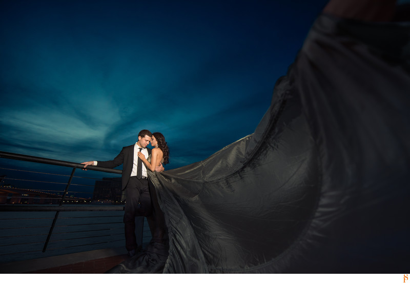 Engagement session in Downtown Jacksonville long dress