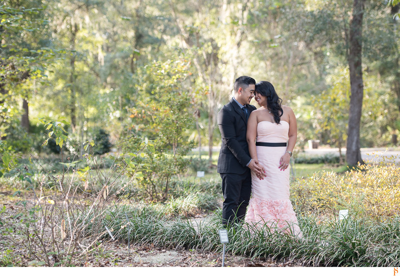 COUPLE WITH PINK LONG DRESS FOR ENGAGEMENT PICTURES