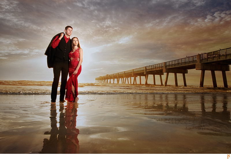engagement photos at sunrise at Jacksonville beach