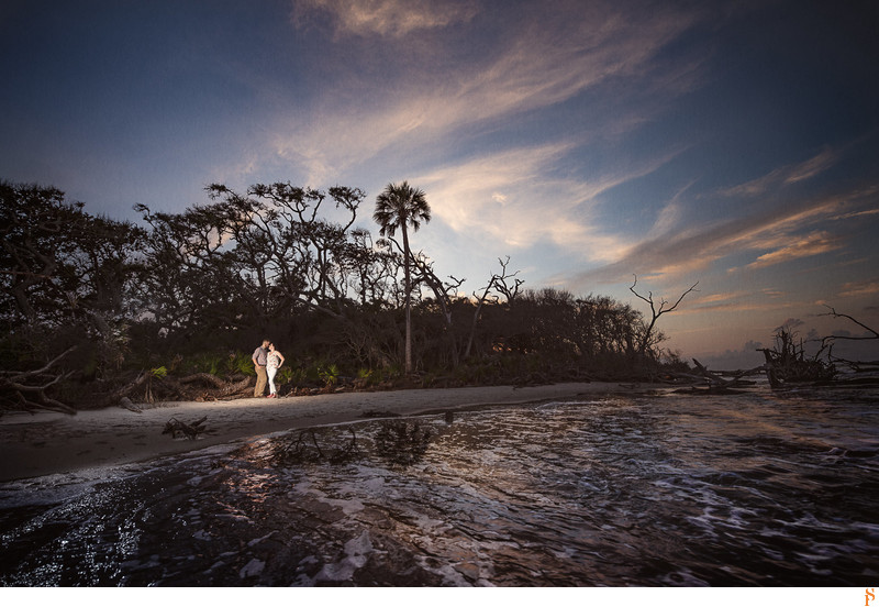 Engagement photo at sunset at the beach Big Talbot Island