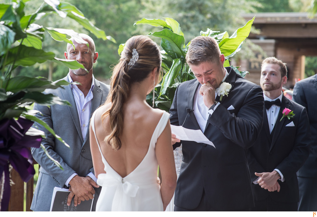 The groom got emotional during the wedding ceremony at Sawgrass