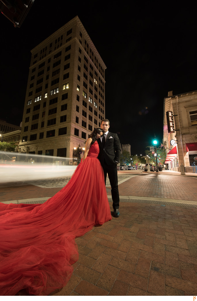 LONG RED PRINCESS DRESS FOR ENGAGEMENT PHOTOS IN JACKSONVILLE
