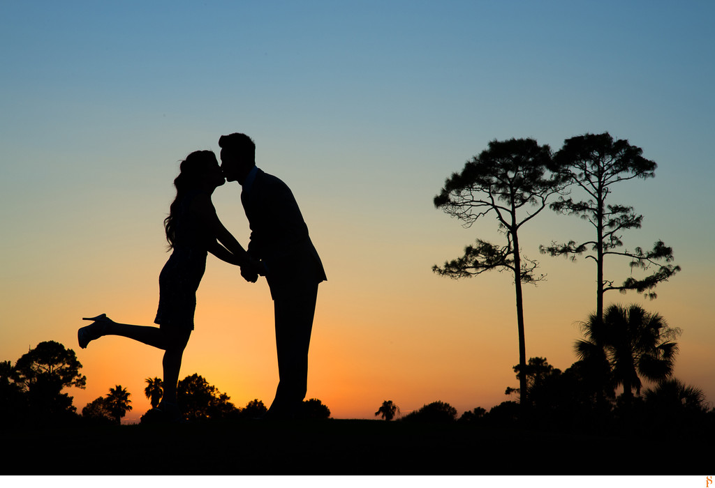 Sunset Engagement Photographs with silhouette and trees