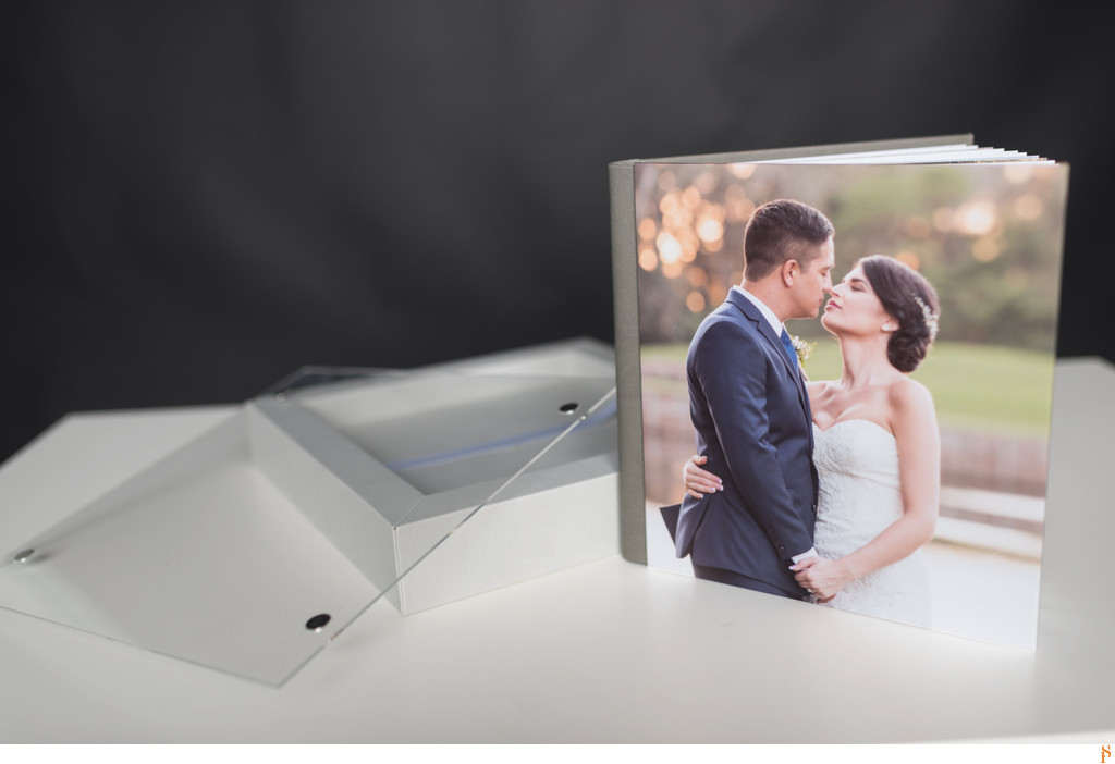TWO SHADES OF GREY WEDDING ALBUM WITH PICTURE ON COVER