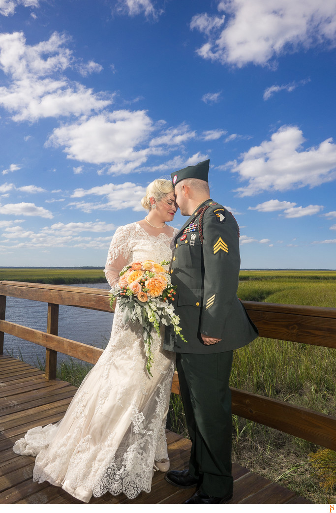 1940 theme wedding by the river with gorgeous blue sky
