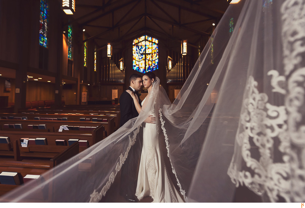 Bride with her cathedral veil - Church of Our Saviour
