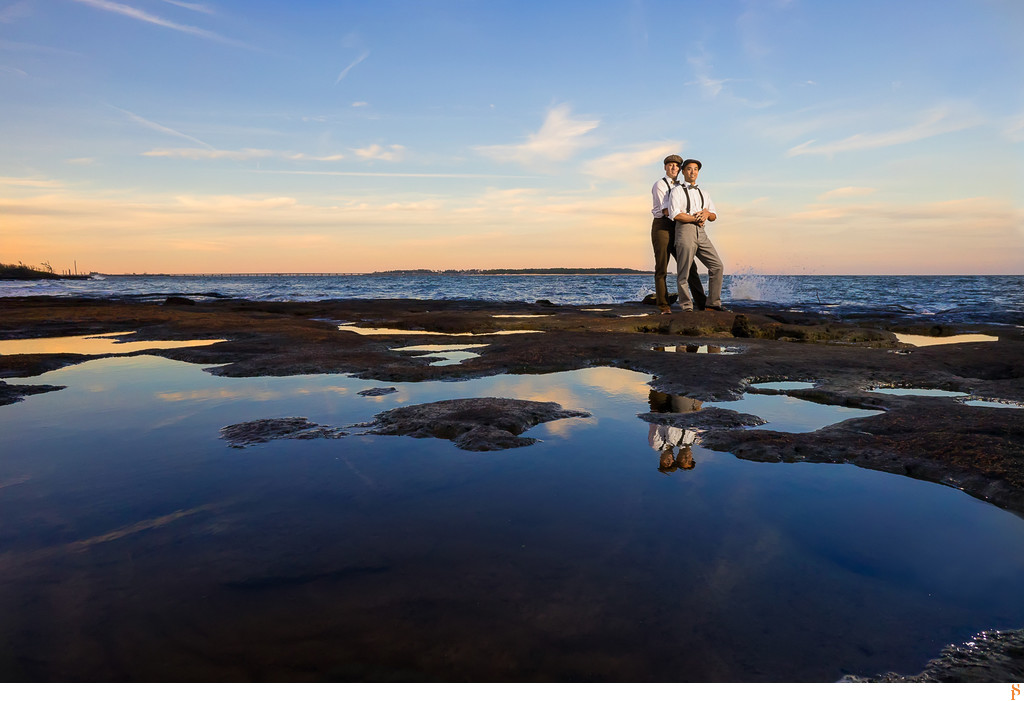 Engagement photos at big Tablot Island at sunset in florida