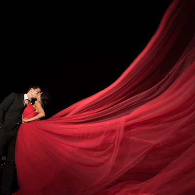 Engagement session at Downtown Jacksonville with long red dress
