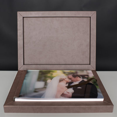 BROWN WEDDING ALBUM WITH A GORGEOUS PICTURE ON THE COVER