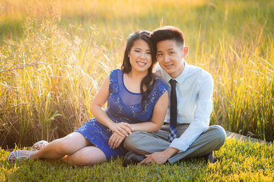ENGAGEMENT PHOTO BY A FIELD WITH A GORGEOUS BLUE DRESS