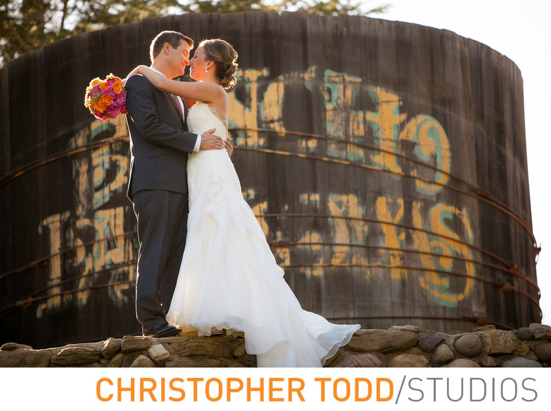 Bride and Groom Portrait Watertower Rancho Las Lomas
