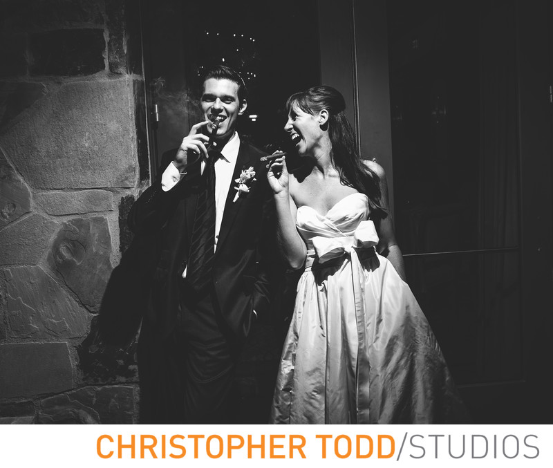 Bride and Groom Laughing Big Canyon Country Club Cellar