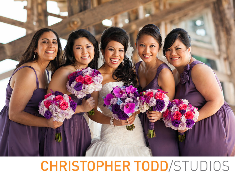 Bride and Bridesmaids under Newport Pier