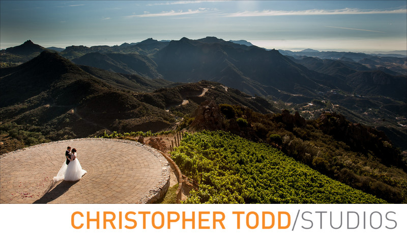 Malibu Rocky Oaks Helicopter Pad Wedding Ceremony Photo