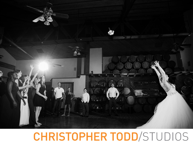 Calamigos Ranch Wedding of Bridal Bouquet toss