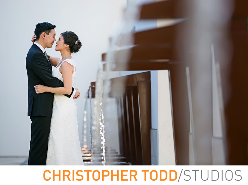 Bowers Museum Wedding Featuring Bride and Groom