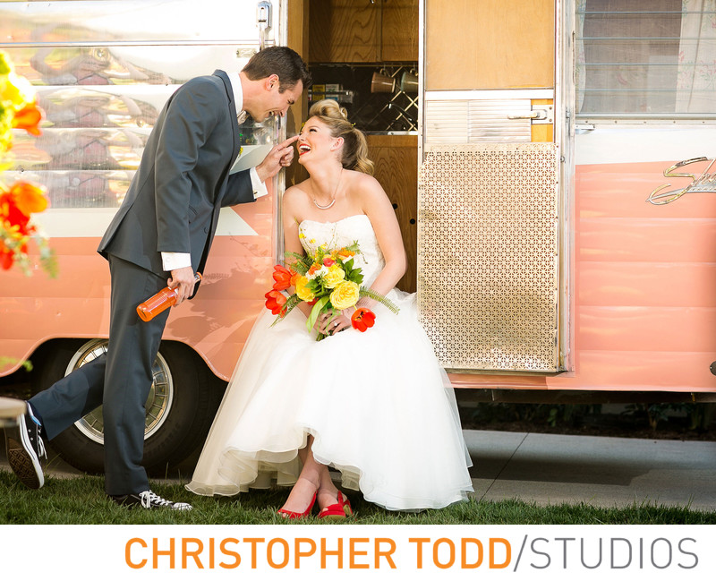 Fun Bridal Shoot With Vintage Camper at Hotel Irvine
