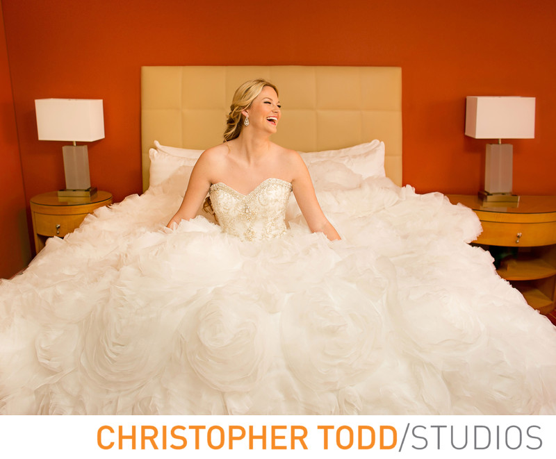 Hotel Irvine Bridal Portrait in Suite