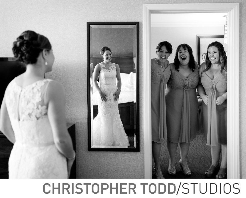 Bridesmaids' First Look of Bride at Hilton Costa Mesa