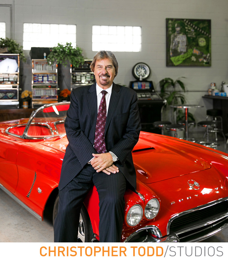 Orange County Attorney Portrait With Vintage Sports Car