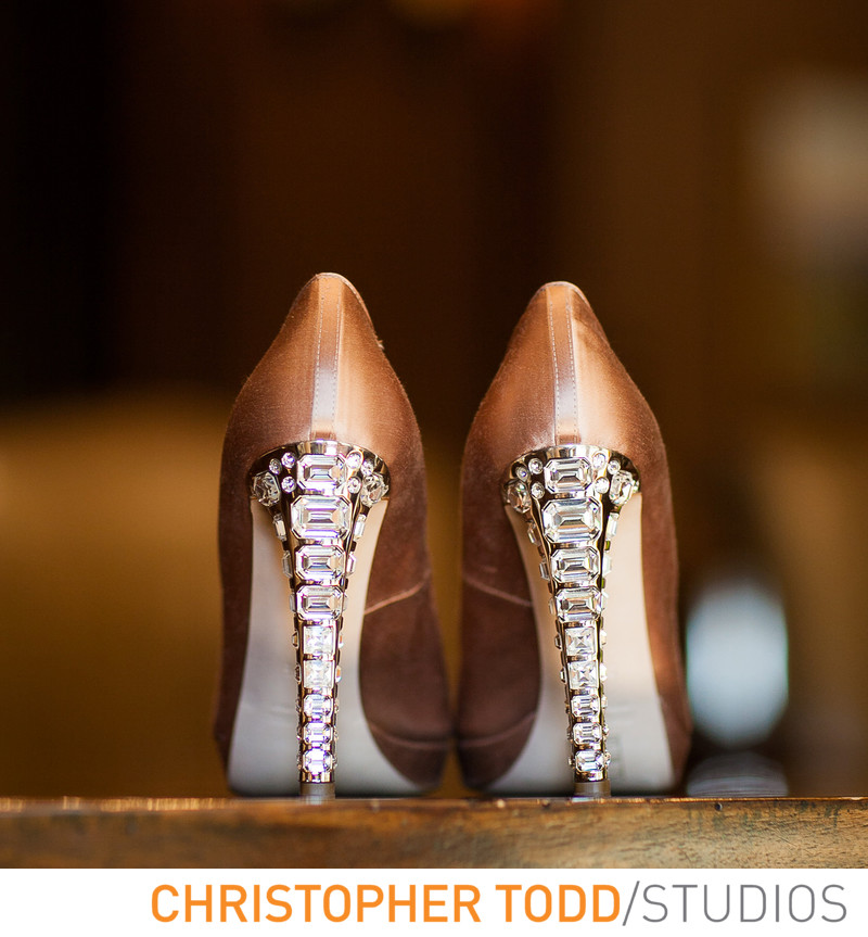 Brides Heels at Big Canyon Country Club Wedding
