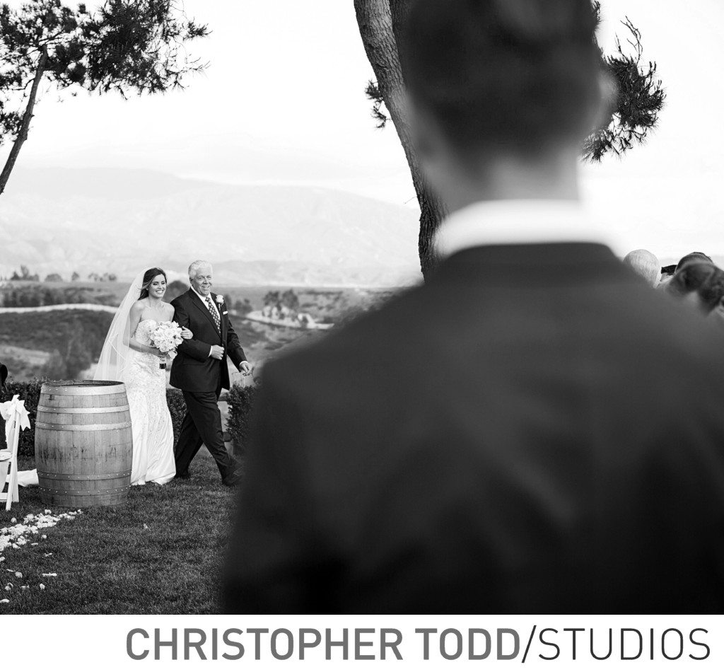Callaway Winery Wedding Groom's First Look Of Bride