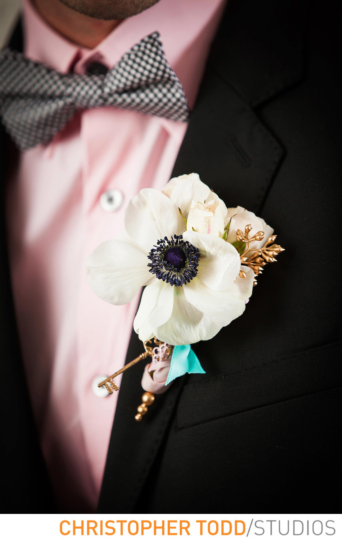Grooms Boutonniere at Serra Plaza Wedding
