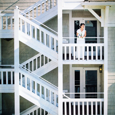 Portrait of Bride on Stairs Shutters on the Beach Hotel