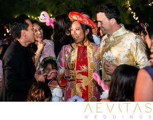 Romantic serendipity garden weddings wedding photos vietnamese wedding couple greeting guests in oak glen m4hsunfo