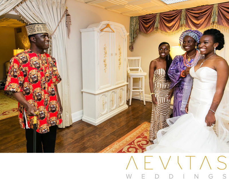 Father-daughter first look at Nigerian wedding