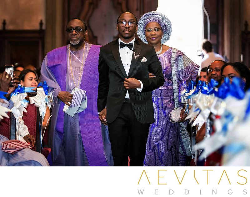 Groom and parents at Nigerian wedding ceremony in LA