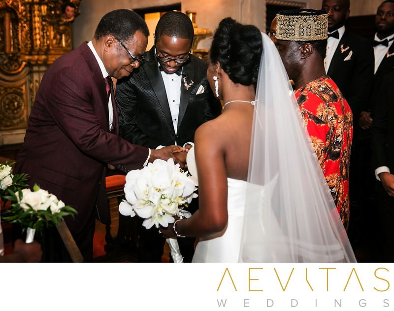 Moment of prayer during Nigerian wedding ceremony in LA