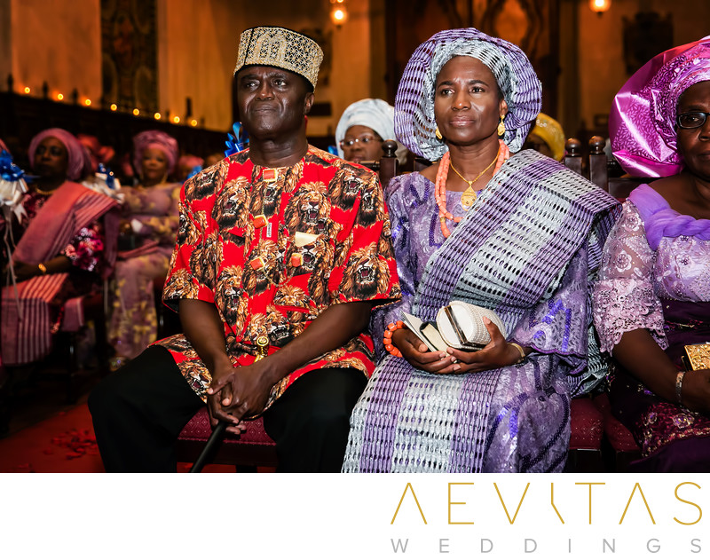 Parents watching at Nigerian wedding ceremony
