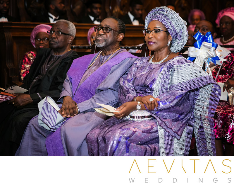 Parent reactions at Nigerian wedding ceremony in LA