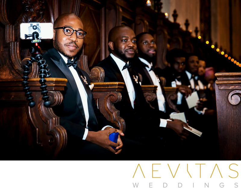 Groomsmen reactions during Mission Inn wedding ceremony