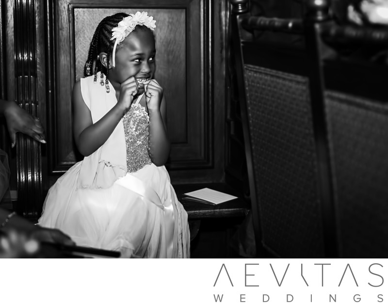 Cute flower girl in black and white at Mission Inn