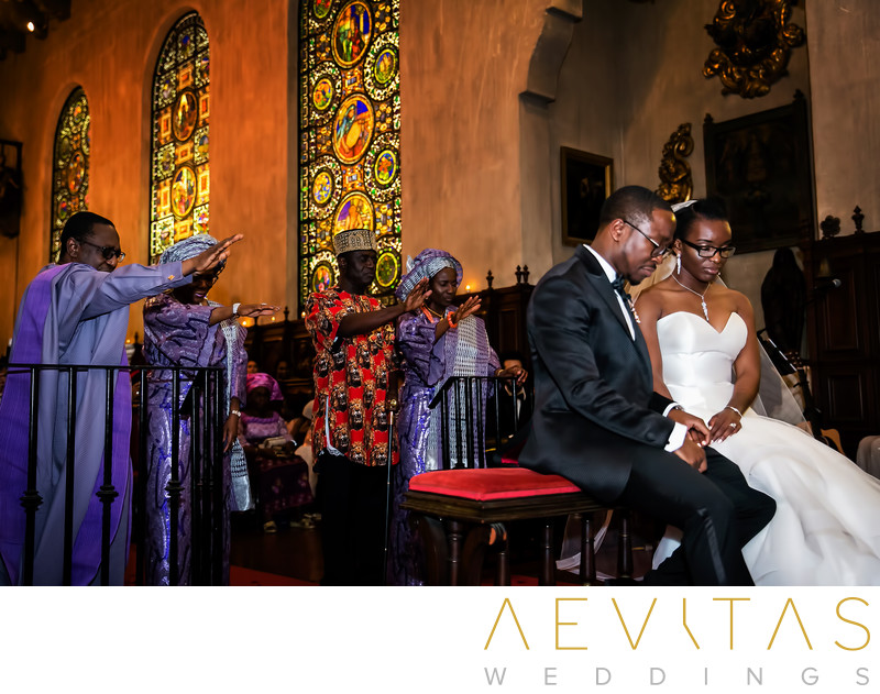 Parents bless bride and groom at Nigerian wedding