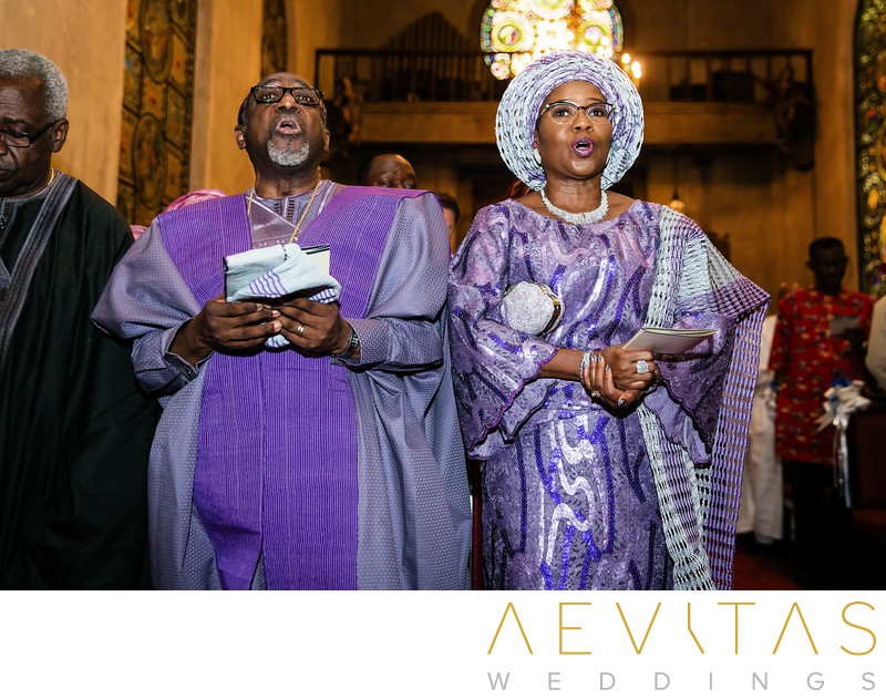 Parents sing hymns during Nigerian wedding ceremony