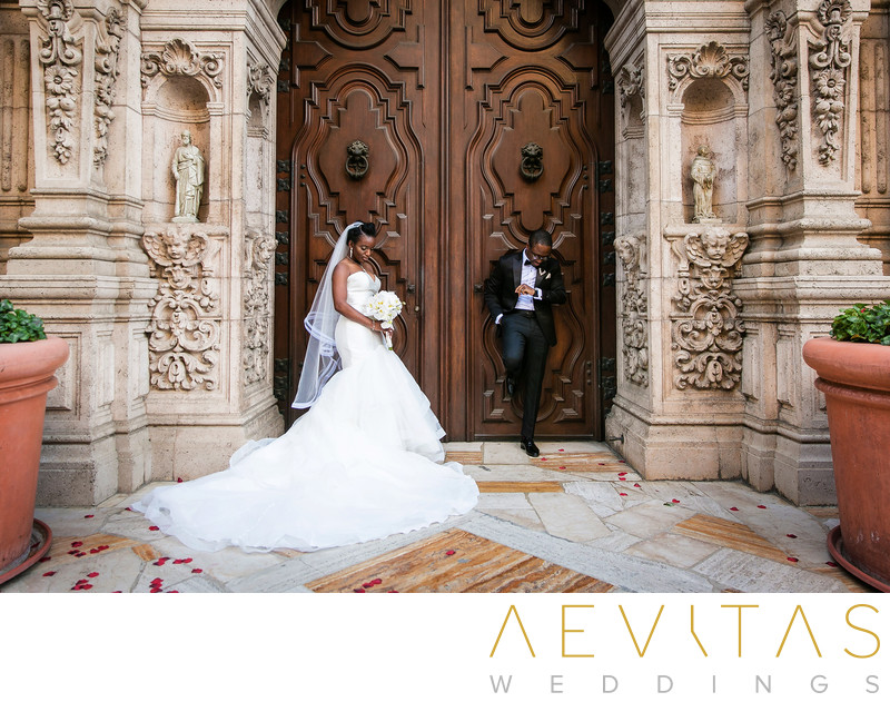 Creative couple portrait at Mission Inn Hotel and Spa