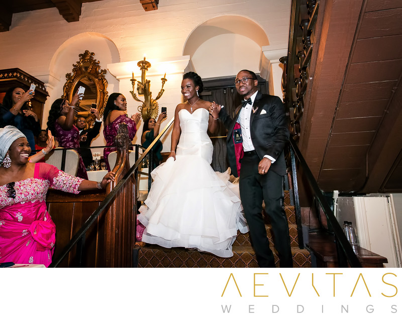 Couple grand entrance Mission Inn wedding reception