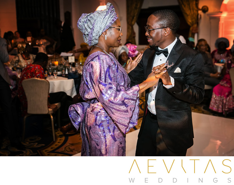 Mother-son dance at Nigerian wedding reception