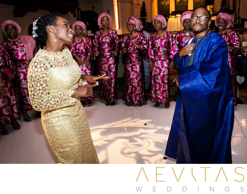 Bride and groom dancing at Nigerian wedding reception