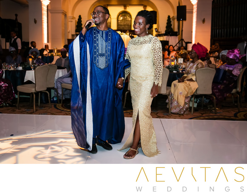 Couple make speech at Nigerian wedding reception