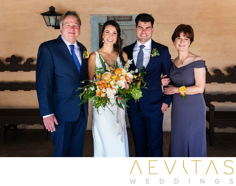 Bride's family and bouquet by LA wedding photographer