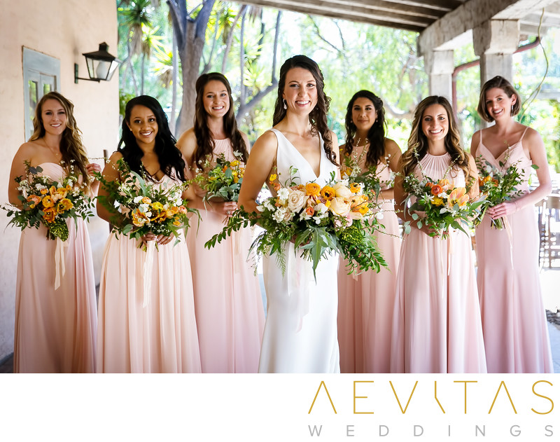 Creative bride and bridesmaids portrait Santa Barbara