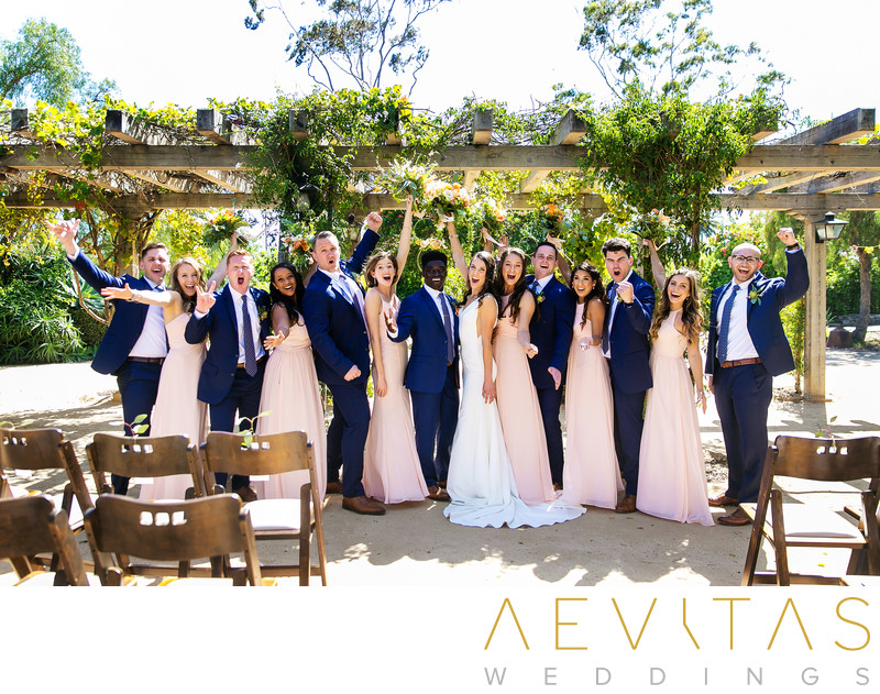 Fun bridal party portrait Santa Barbara ceremony venue