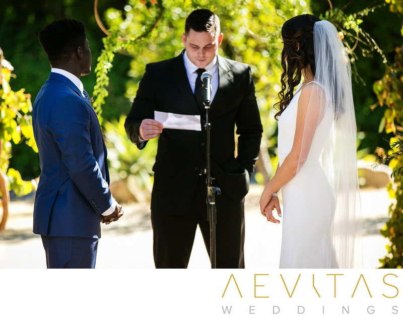 Couple and officiant Santa Barbara wedding ceremony