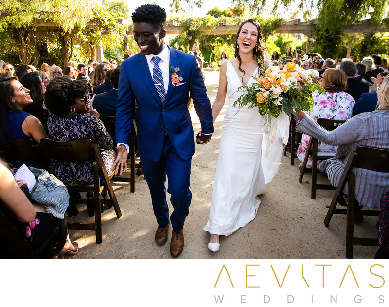 Couple recessional walk at Santa Barbara wedding