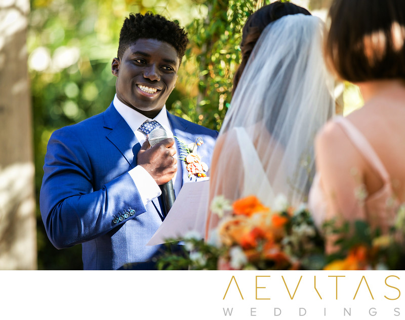 Groom reads vows at Santa Barbara wedding ceremony