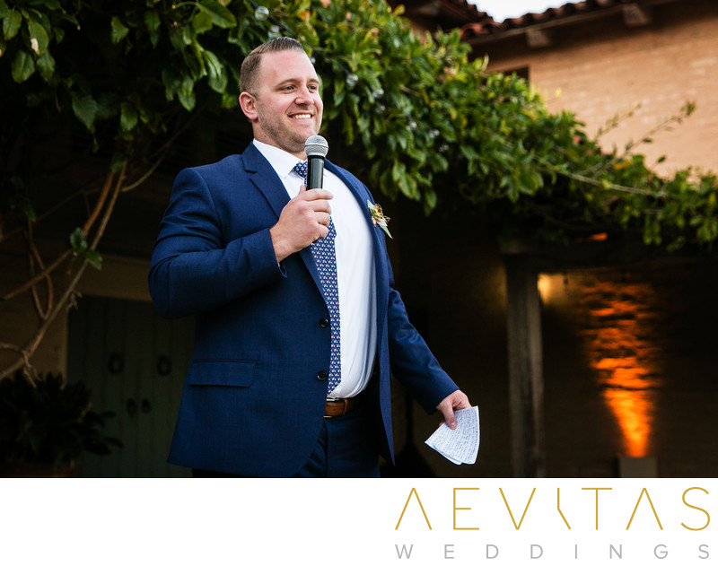Groomsman makes speech at Santa Barbara wedding